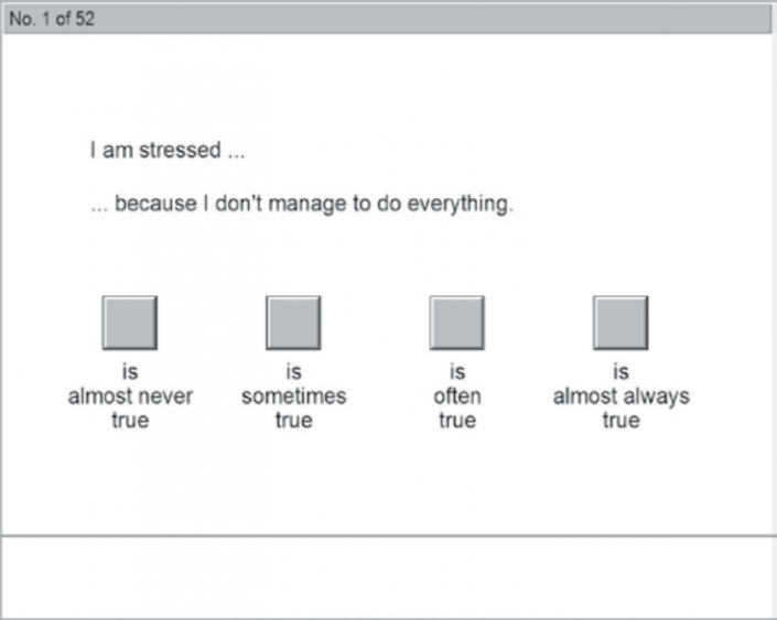 نمایی از آزمون DSI پرسشنامه استرس افتراقی