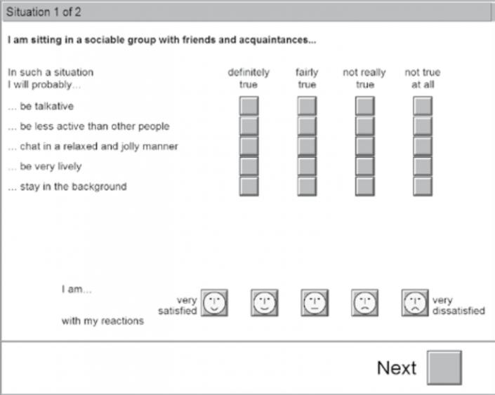 نمایی از آزمون IPS پرسشنامه مربوط به ارزیابی شخصیت در موقعیتها
